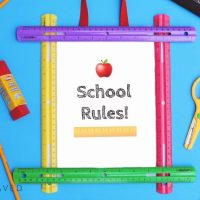 "DIY Back to School ""SCHOOL RULES"" Ruler Frame + FREE School Rules Printable"