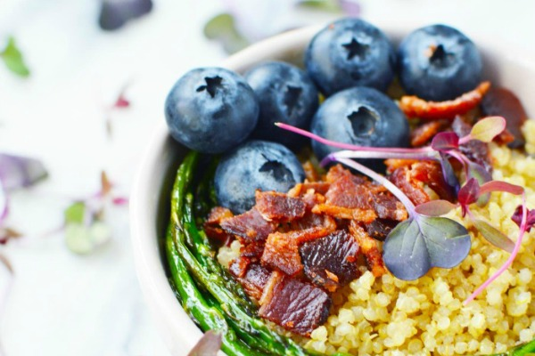 blueberry and bacon grain bowl