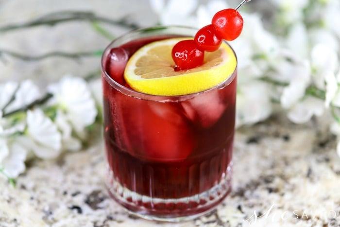 Bourbon Cherry Pomegranate Cocktail