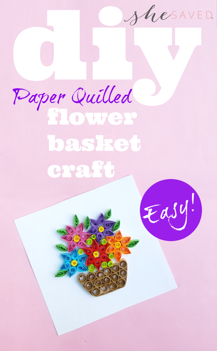 Great for teens/tweens this easy paper quilled flower basket craft project is a great activity and makes a darling DIY gift!