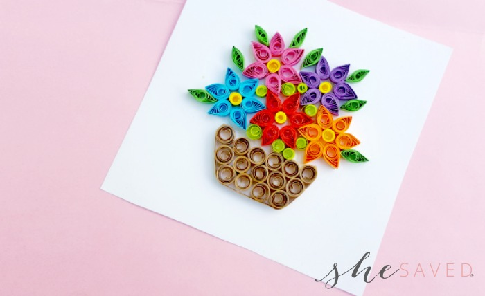 Paper quilling flower basket project shesaved these fun paper quilled projects are neat to frame and also a fun way to make homemade greeting cards just glue your project to the mightylinksfo