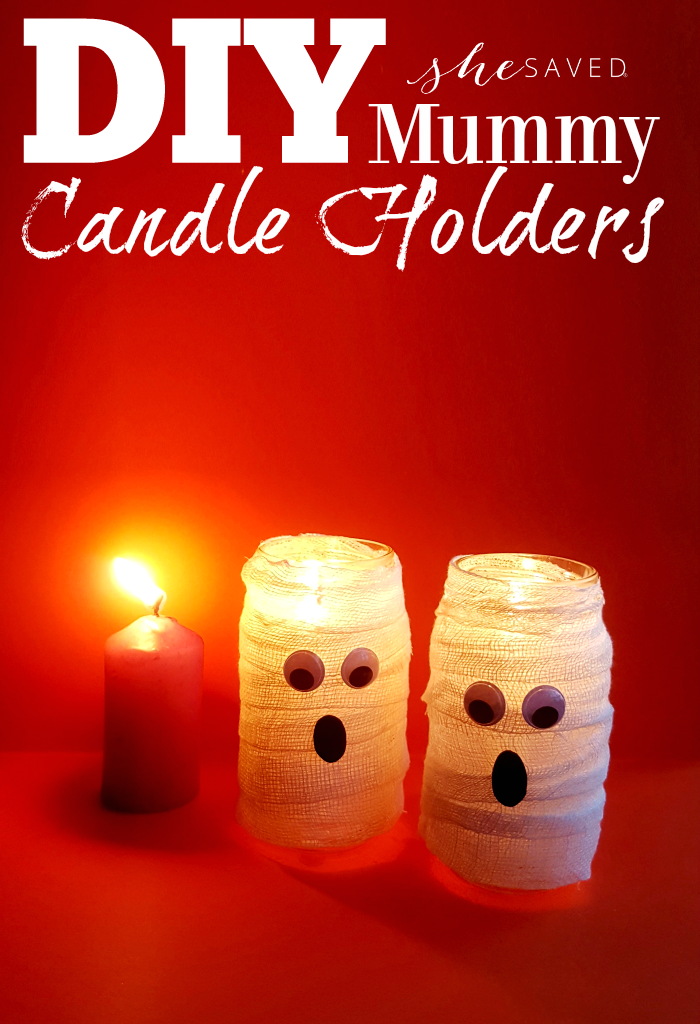 Easy and fun, these DIY Halloween Mummy Candle Holders are a great upcycle craft!