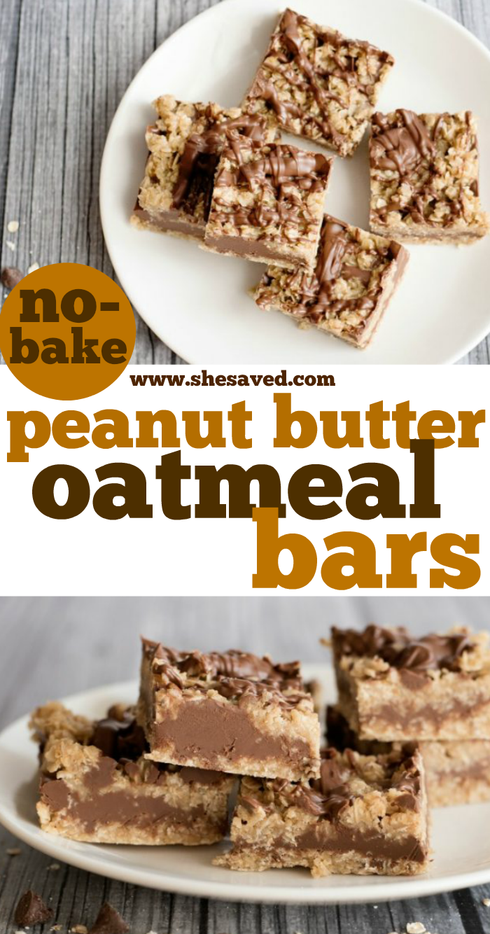 Easy No-Bake Peanut Butter Oatmeal Bars recipe