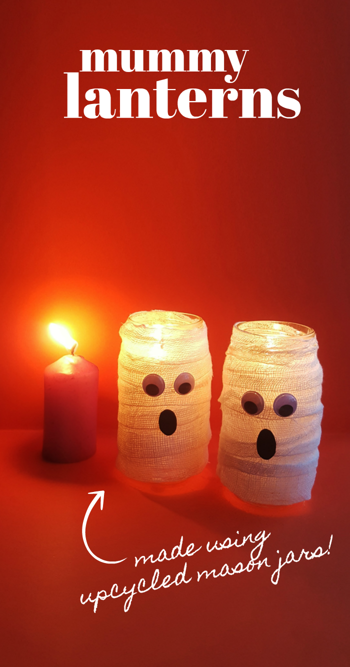 How to make Mummy Lantern Candle Holders out of Mason Jars