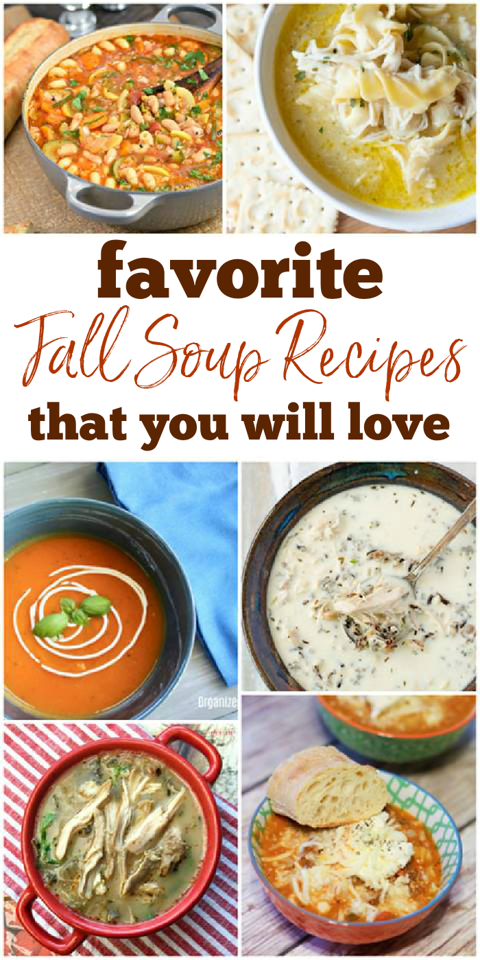 Images of different bowls of fall soups and recipes