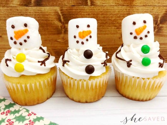cutest snowman cupcakes