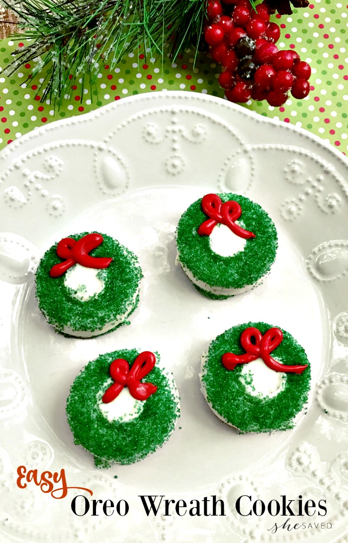 Chocolate Covered Oreo Christmas Wreath Cookie