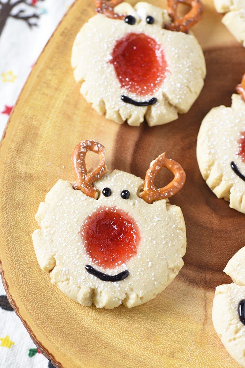 Red Nosed Reindeer Thumbprint Cookies