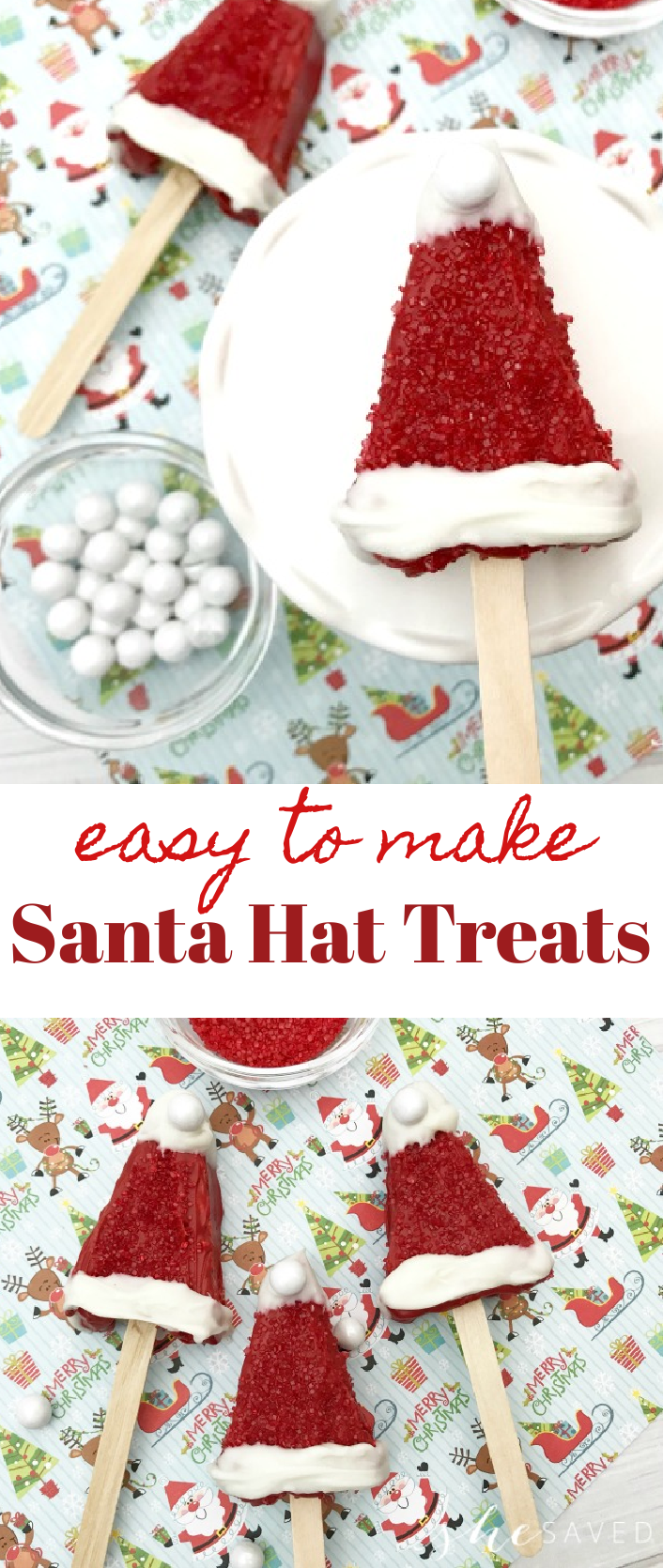 Santa Hat Treats made with Rice Krispies