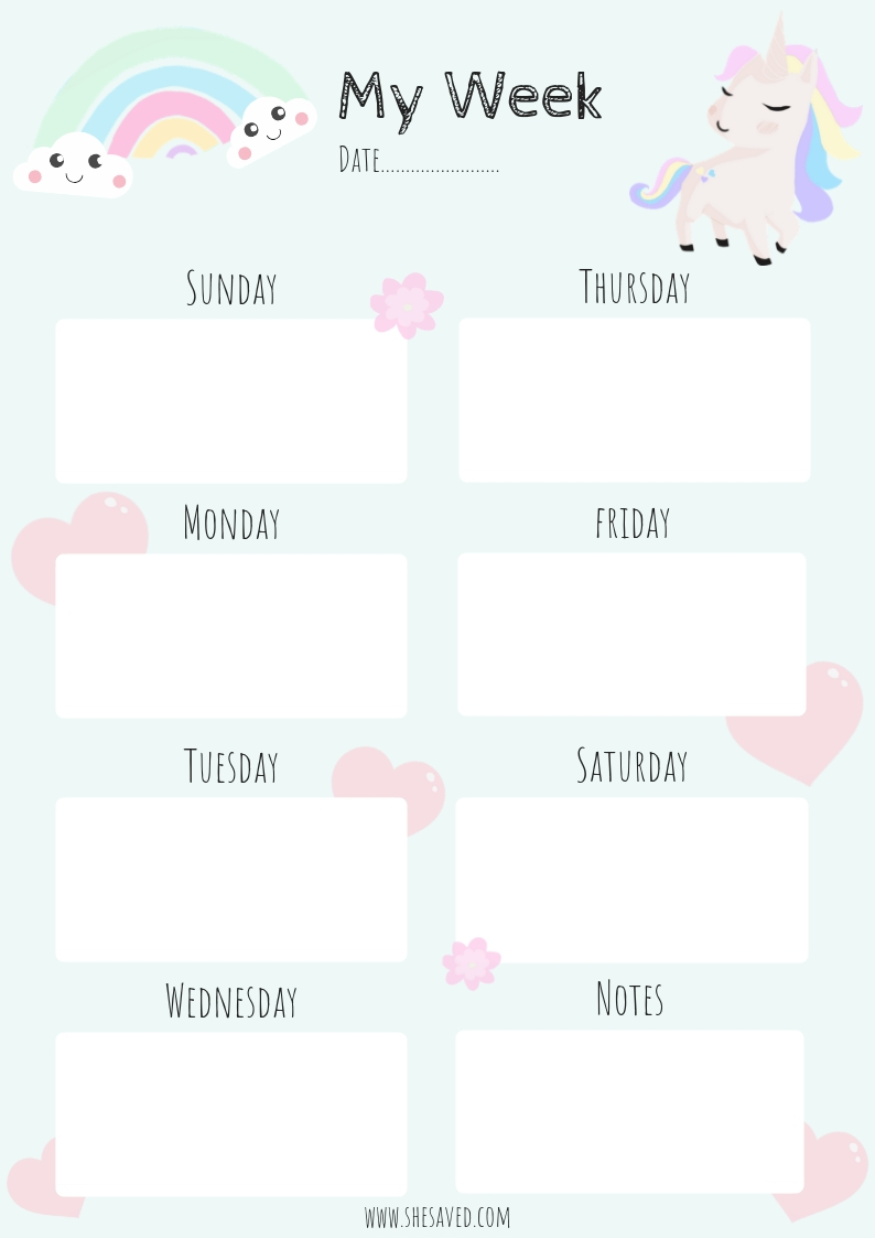 get organized  free printable unicorn calendar pages