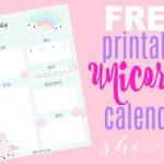 FREE Printable Unicorn Calendar 600