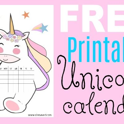 Printable Unicorn Calendar 600