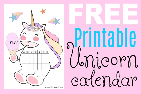 graphic about Free Printable Unicorn Pictures named 2019 No cost Printable Unicorn Calendar - SheSaved®