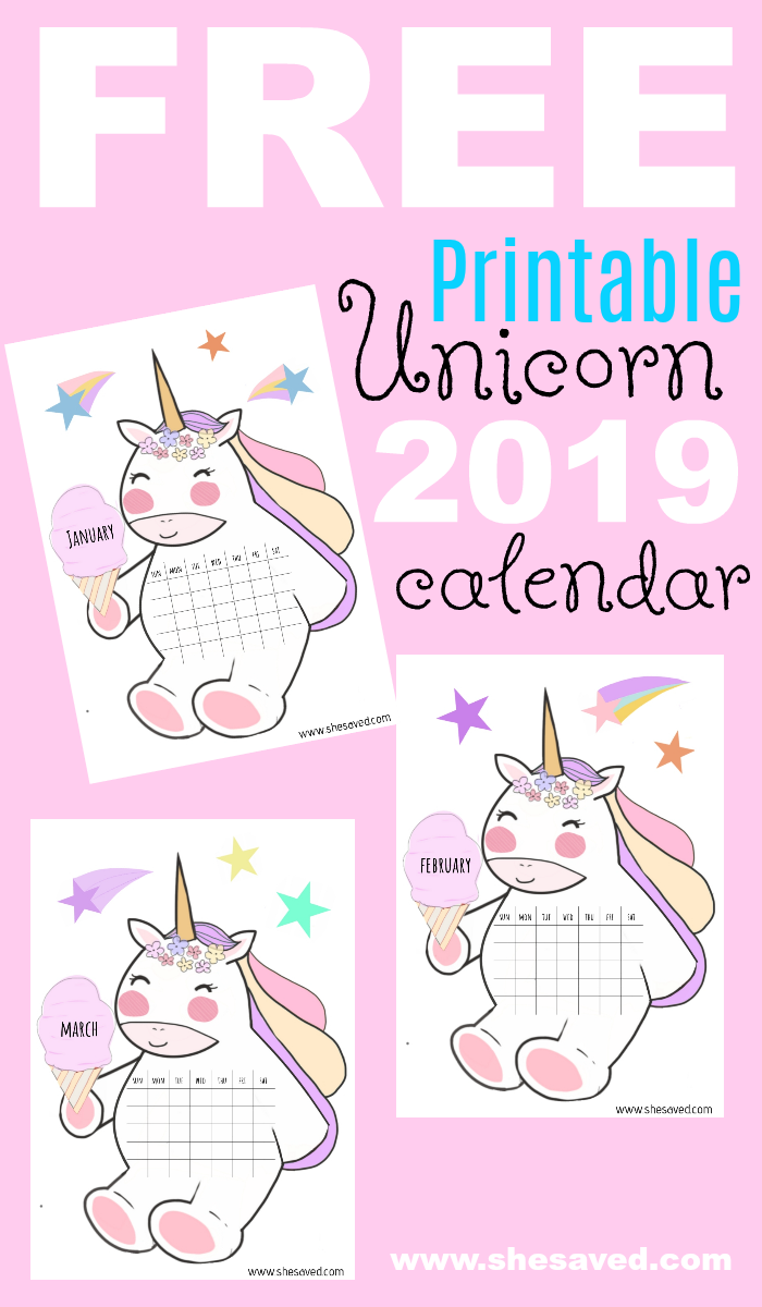 photograph relating to Free Printable Unicorn named 2019 Totally free Printable Unicorn Calendar - SheSaved®
