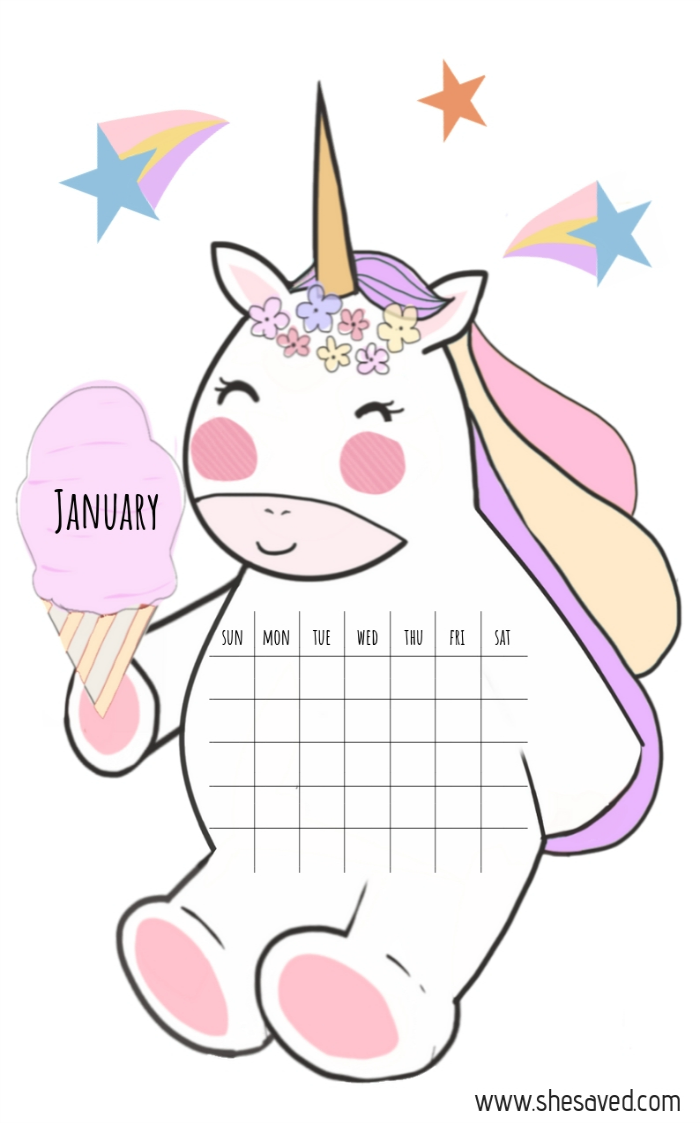 2019 FREE Printable Unicorn Calendar