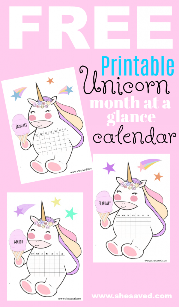 FREE unicorn calendar printable sheets
