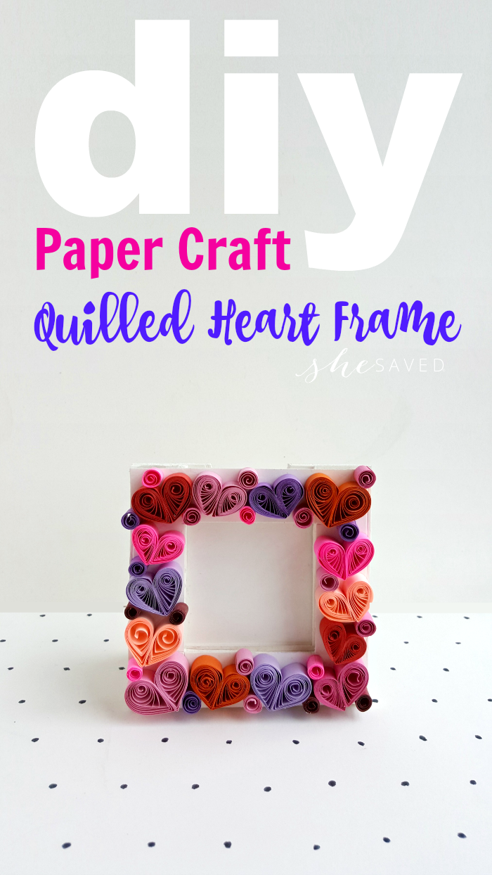 DIY Quilled Heart Frame paper quilling project craft