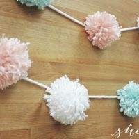 Easy DIY Party Yarn Pom Pom Garland Craft