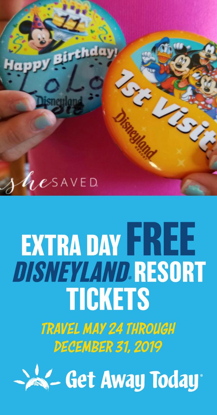Extra Day FREE at Disneyland