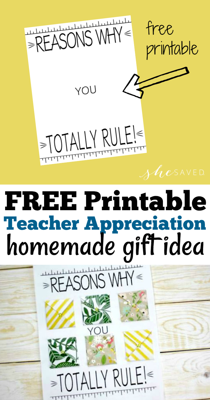 FREE Printable Teacher Appreciation Gift Idea