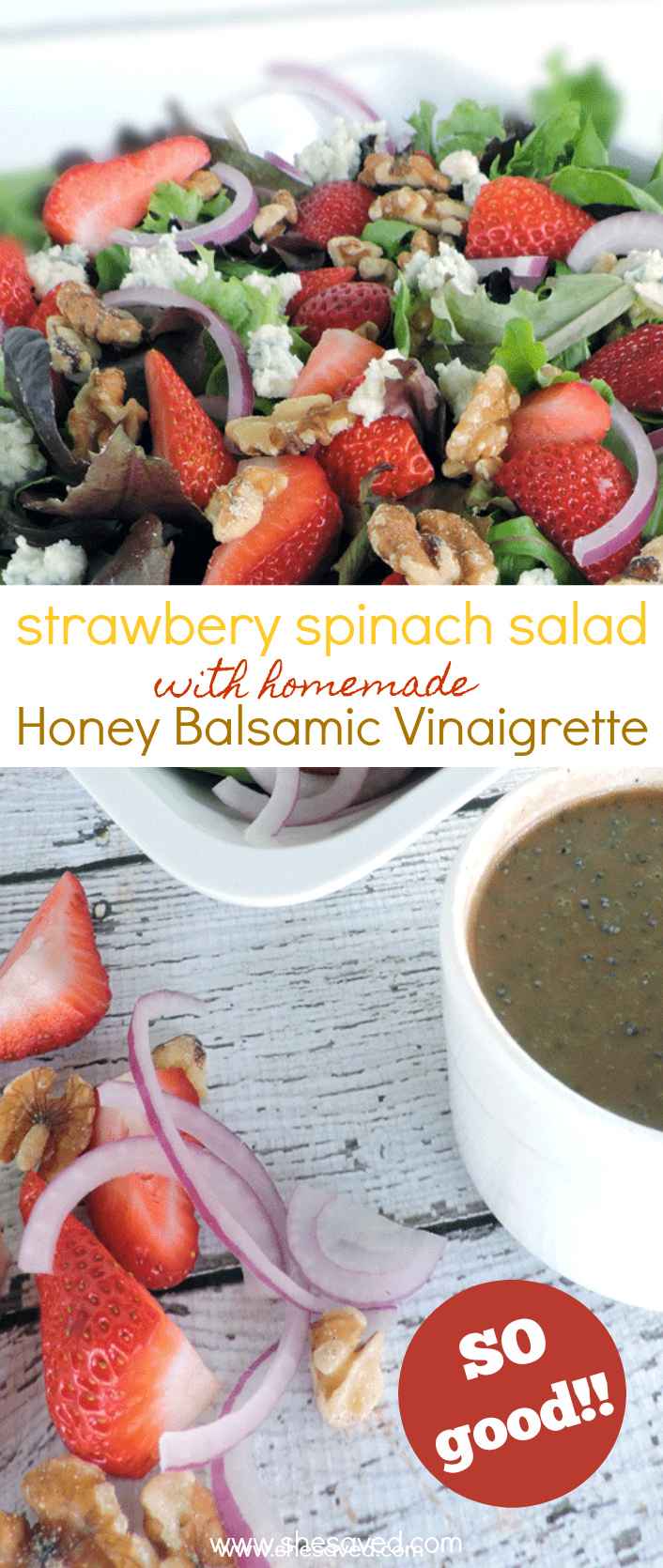strawberry spinach salad with homemade honey balsamic vinaigrette recipe