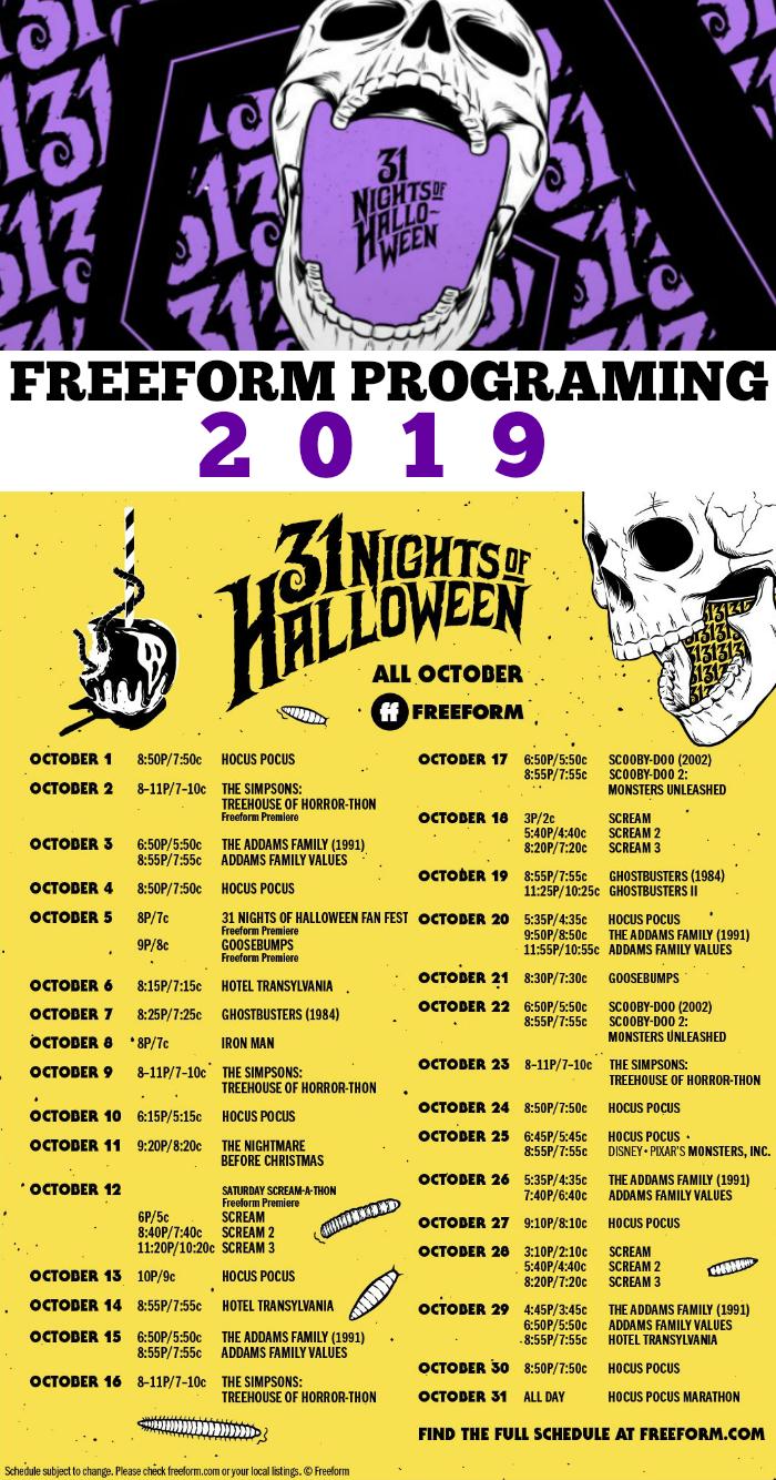 Freeform 31 Nights of Halloween Movie Calendar 2019