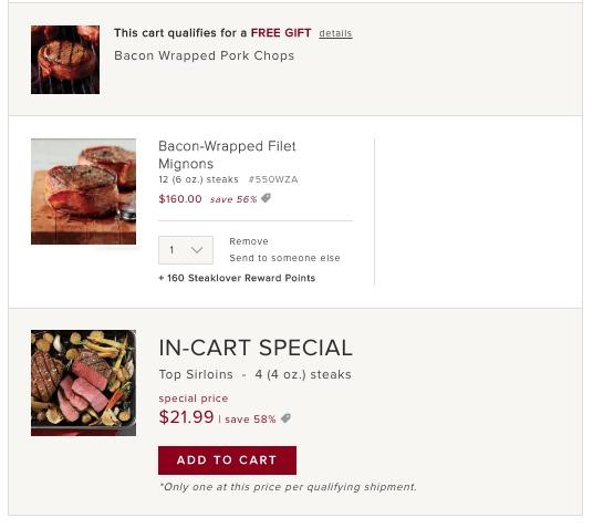 Omaha Steaks Shopping Cart