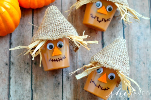Easy to make Scarecrow Pudding cups for kids