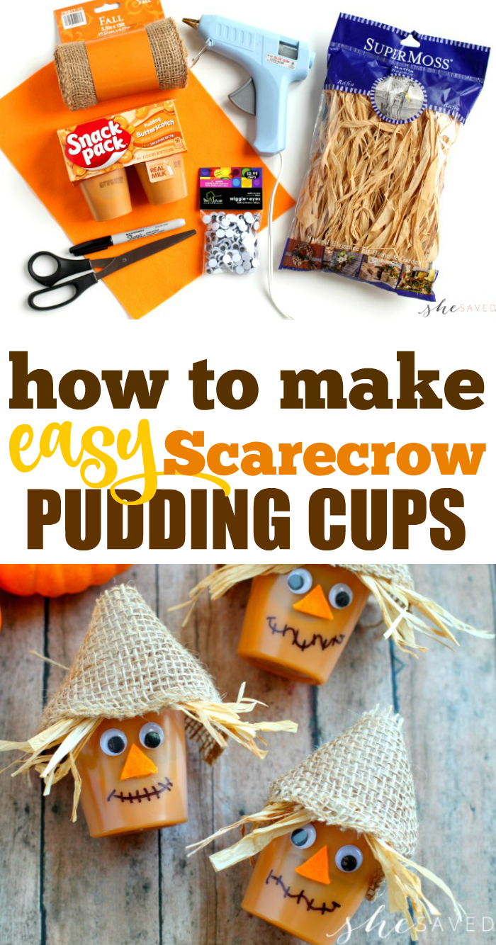 Easy Fall Snack For Kids Scarecrow Pudding Cups Shesaved