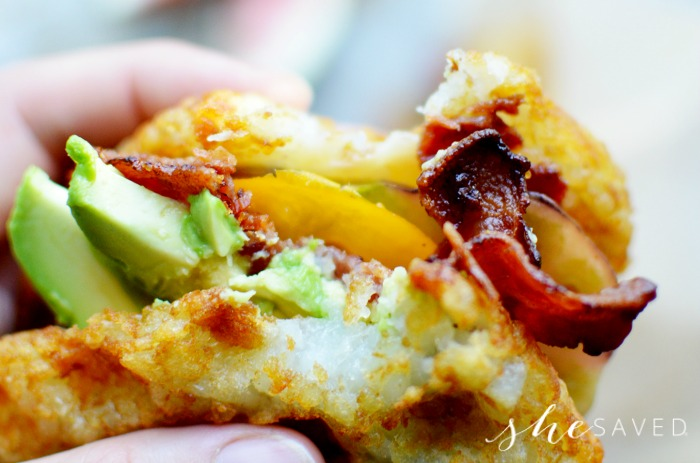 Bacon Avocado Hash Brown Sandwich