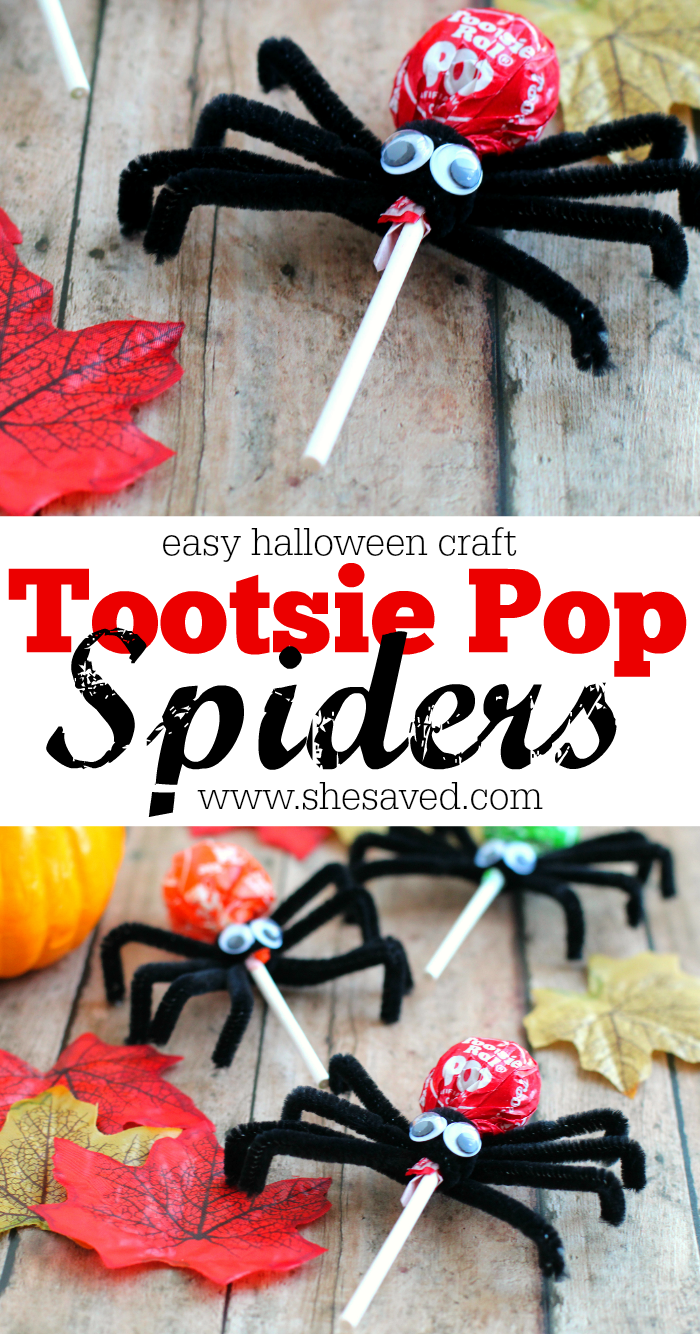 Easy tootsie pop spider craft