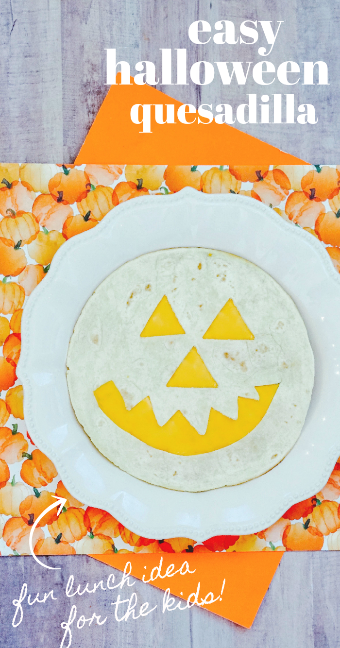 Halloween Quesadilla in the shape of a pumpkin jack o lantern