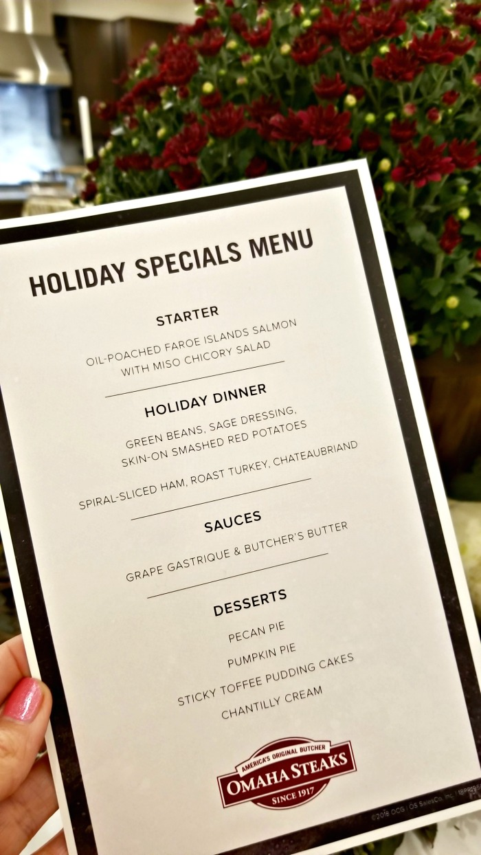 Holiday Menu Omaha Steaks