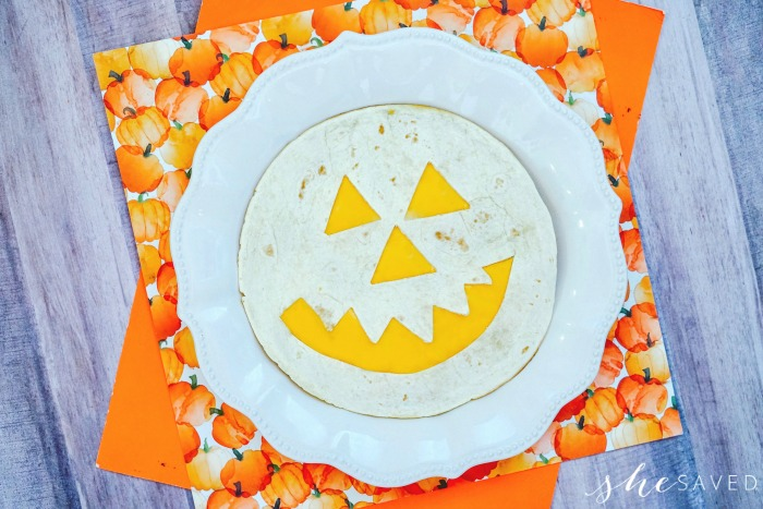 Pumpkin Face on Tortilla