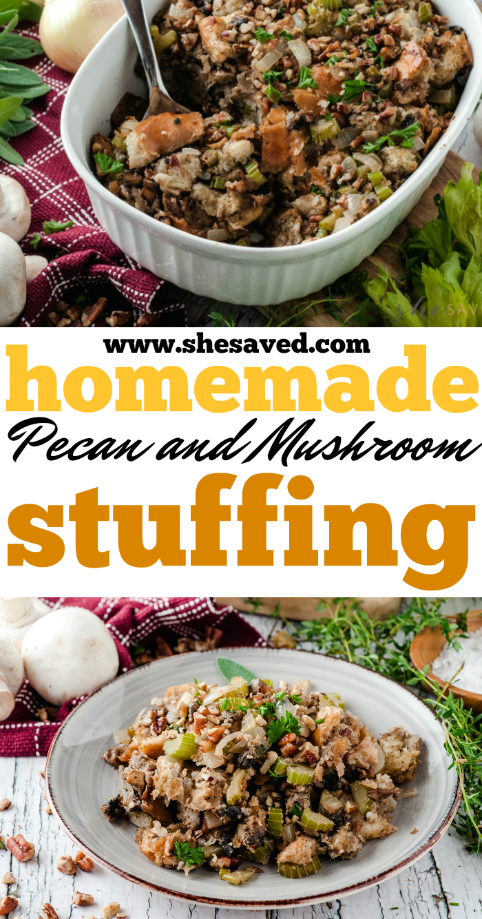 Homemade Pecan Mushroom Stuffing