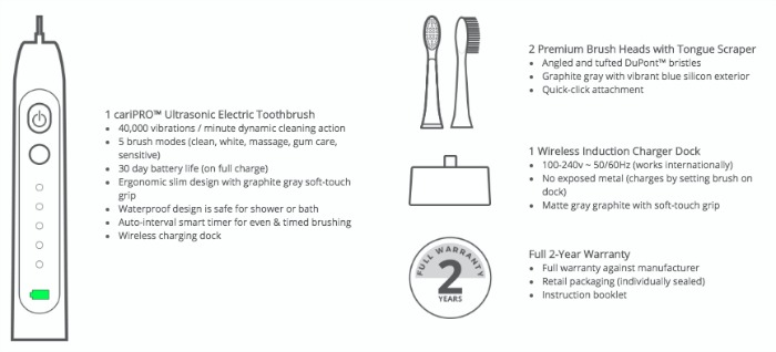 cariPRO Ultrasonic Electric Toothbrush features