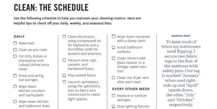 Martha Stewart Clean Schedule