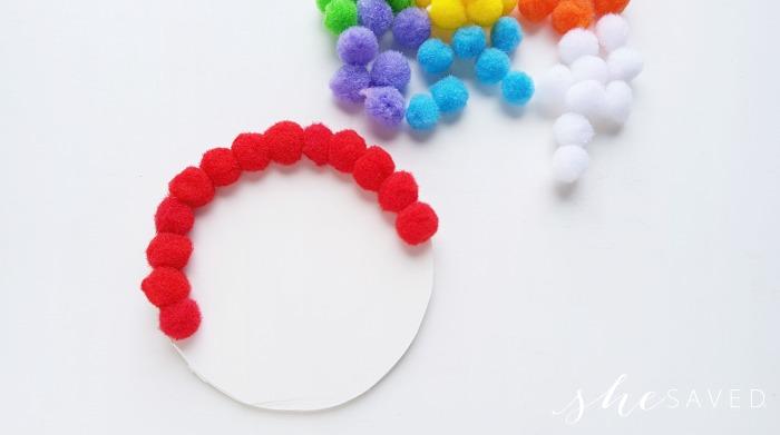 rainbow with pompoms