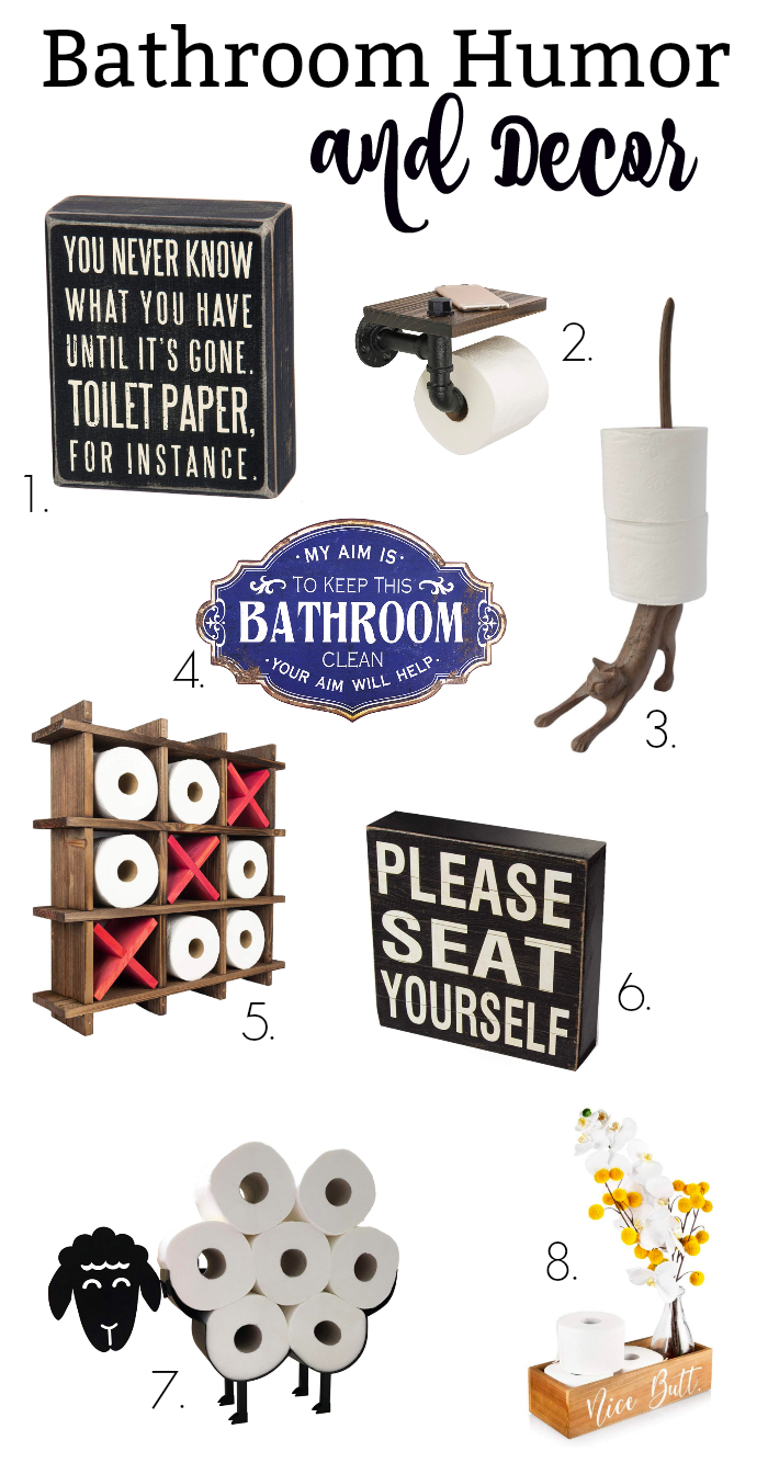 These fun Bathroom Humor products will give you a chuckle and provide some comic relief when it comes to toilet paper storage and keeping your toilet paper stock in order. Because sometimes you just gotta laugh about the crazy things in life, and toilet humor is definitely one of those things!