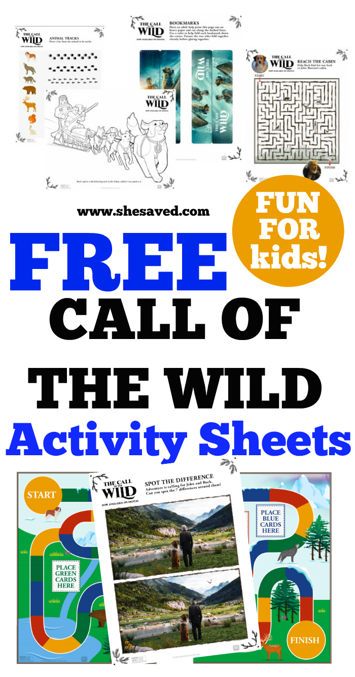 Print out these CALL OF THE WILD activity sheets for kids