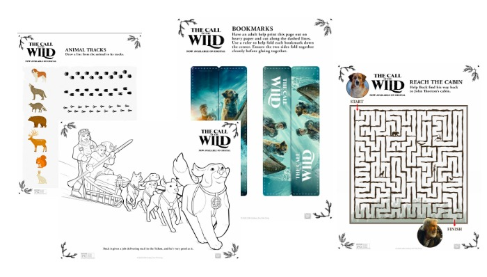 Print these FREE Call of the Wild Activity Sheets