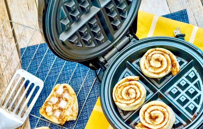Cinnamon Rolls in the Waffle Iron