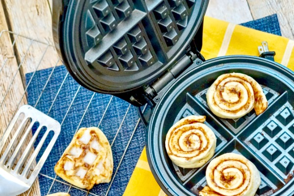 Cinnamon Roll Waffles: Mom Hack