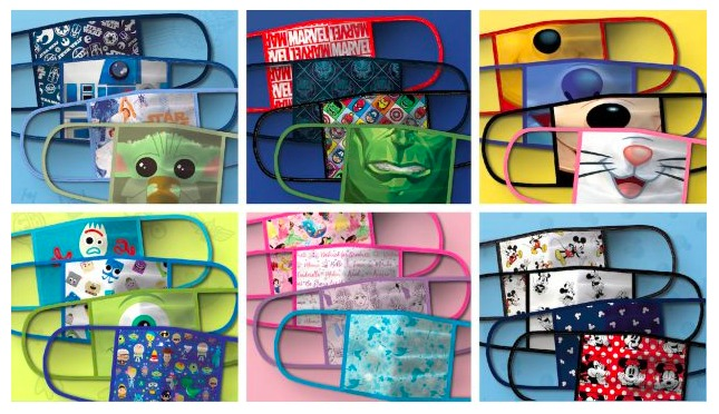 Disney themed character face masks