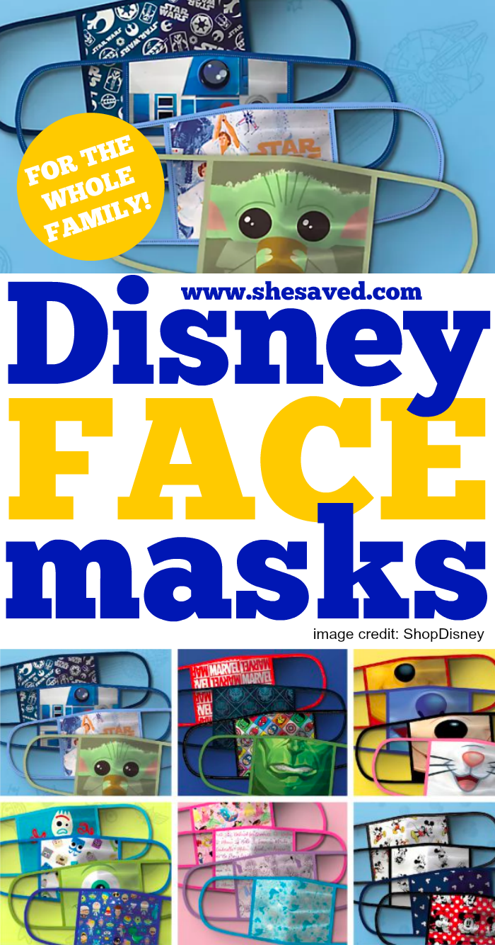 Cloth Disney Face Masks featuring all of your favorite Disney, Marvel and Starwars Characters!