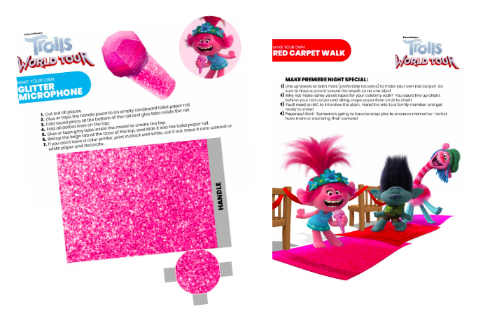 FREE Glitter Microphone Craft from TROLLS