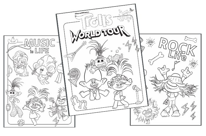 TROLLS WORLD TOUR Coloring Sheets