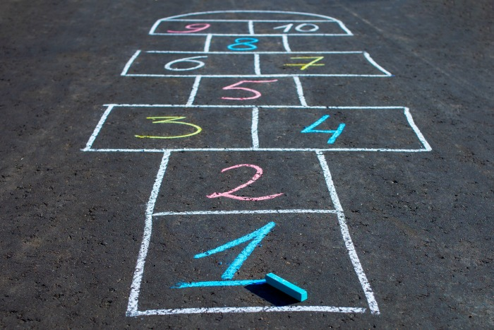 Hopscotch game drawn with chalk