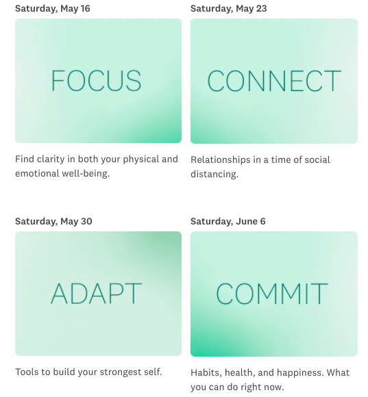 The itinerary for Oprah's Your Life in Focus Virtual Online Class