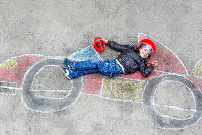 racecar with chalk
